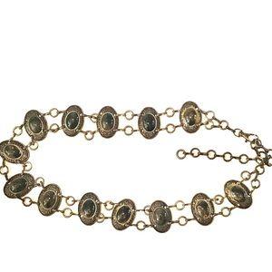Vintage Stone & Medallion Chain Link Belt